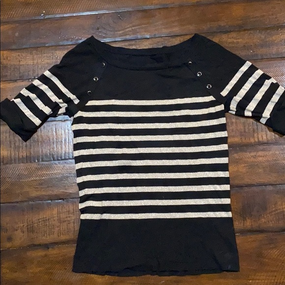 White House Black Market Tops - Striped sweater WHBM cropped sleeve top